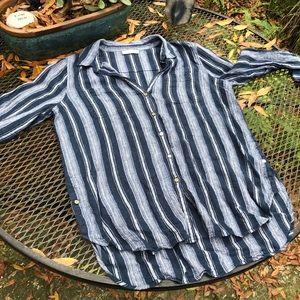 Lg CALVIN KLEIN linen button down shirt women's